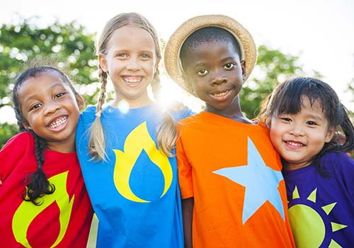 Kids with colorful t-shirts